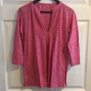 Ann Taylor LOFT Pink Heathered 3/4 Sleeve Shirt